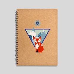 Mountain fox notebook - 120 sheets notebook with hard cover made of recycled cardboard. 16x22cm -. 15,61€