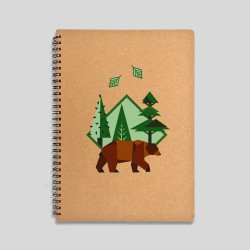 Brown bear notebook - 120 sheets notebook with hard cover made of recycled cardboard. 16x22cm -. 15,61€